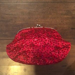 Handbags - Red, Sparkly Clutch